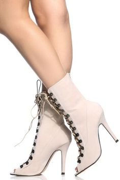 4c1981c661b Buy Nude Faux Suede Lace Up Open Toe Single Sole Heels with cheap price and  high quality from Cicihot Heel Shoes online store which also sales Stiletto  Heel ...
