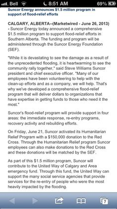GREAT WAY TO START MY MORNING IS SEEING THIS..  Suncor pledges $1.5M to flood relief efforts #Abflood #yycflood pic.twitter.com/7nKqFNS1AB Details   Reply  Retweet  Favorite Business Help, Effort, Twitter
