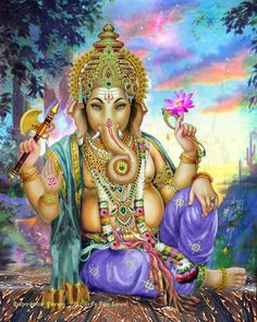 A beautiful and detailed art print of Lord Ganesha, remover of obstacles. He is also known as Ganapati.
