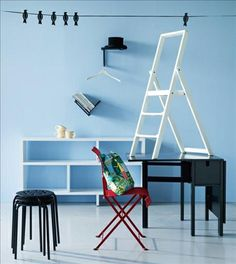 Step foldable step ladder and Wing drop leaf table in Swedish magazine Sköna hem. Designed by Sara Szyber and Karl Malmvall for Design House Stockholm.