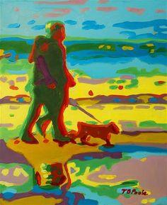 DPW Fine Art Friendly Auctions - Sunset Beach Walk with Dog oil... by Bertram Poole