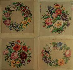 Four Beautiful Floral Wreath Patterns (1 Hertz Wegener, 1 G E Falbe & 2 Carl F W Wicht
