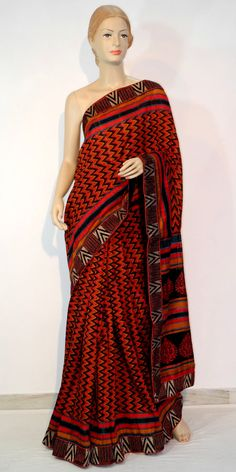 Buy this Designer Silk Saree Online : http://www.maanacreation.com/product-view/?id=1078  A beautiful Red-Black colour motka silk saree with contrast embroidered border to give it gorgeous look.