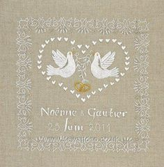 This embroidery wedding sampler design by Royal Paris features doves and golden rings with space for the couples details.The kit contains natu Price: Wedding Embroidery, Embroidery Kits, Embroidery Designs, Wedding Doves, Wedding Cross Stitch, Arts And Crafts, Paper Crafts, Felt Applique, Wedding Crafts