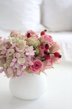 in Pink- und Rosatönen.