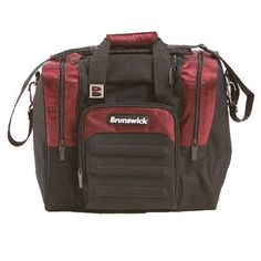 Brunswick Flash Single Tote Bowling Bag- Burgundy by Brunswick. $35.95. - 600D Nylon material - Adjustable shoulder strap - Eva Material - Front accessory pocket - Side shoe compartments - Holds up to size 15 shoe - Metal Hardware - Foam ball holder Bowling Accessories, Bowling Bags, Shoulder Strap, Burgundy, Hardware, Outdoors, Shoe, Pocket, Metal