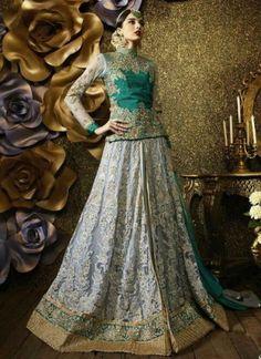 Buy Grey Sea Green Embroidery Work Net Lehenga Style Anarkali Suit http://www.angelnx.com/Salwar-Kameez