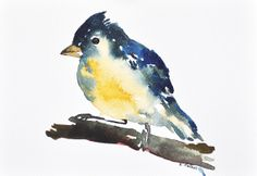 ORIGINAL Watercolor Painting blue yellow abstract by ArtCornerShop, $36.00