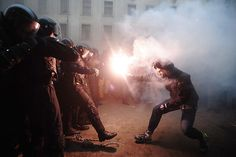 Supporters of European integration clash with riot police during a protest against government's decision to delay signing a trade deal with the European Union, in Kiev, Ukraine, December Photo by Dzhavakhadze Zurab - ITAR-TASS/CORBIS Photography Gallery, Creative Photography, Amazing Photography, Street Photography, Film Photography, White Photography, Landscape Photography, Nature Photography, Travel Photography