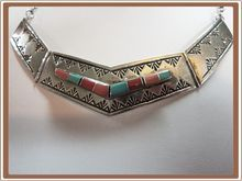 Navajo Sterling Silver Turquoise Necklace Wilbert Muskett Jr from Cobayley Vintage Jewelry Antiques Collectibles