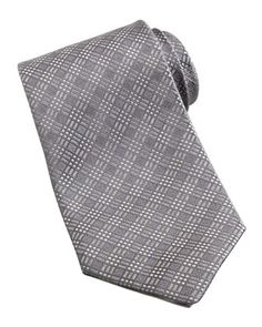 $220, Tonal Plaid Tie Silver by Charvet. Sold by Neiman Marcus. Click for more info: http://lookastic.com/men/shop_items/105647/redirect