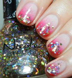 Nicole by O.P.I Carrie Underwood Collection Sweet Glittering Gradient Nail Art Look