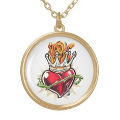 Cool Heart with Crown  tattoo necklace