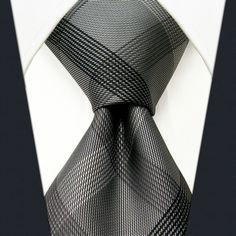 Checked Black Dark Gray Men's PLAID NECKTIE 100% Silk Jacquard Woven
