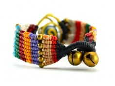 Colorblock Macrame Bracelet with Spiral Wrapped Stone