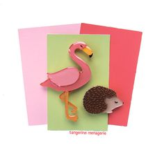 Flamingo and Hedgehog The Queen's Croquet Set from Alice in Wonderland Brooch Pin Set by TangerineMenagerie