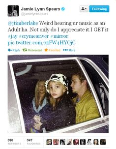 What Does This Tweet From Jamie Lynn Spears To Justin Timberlake Mean?