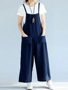 Fashion Casual Strap Sleeveless Pockets Loose Women Jumpsuits