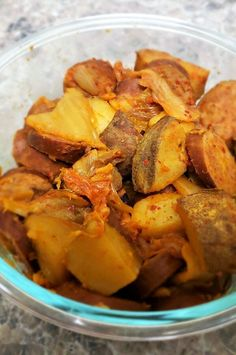 """Easy Slow Cooker Turkey Sausage, Potatoes, and Kimchi 