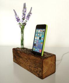 iPhone Dock and bud vase  charging station  docking by valliswood, $65.00