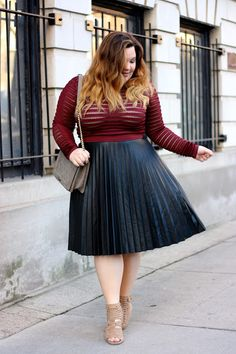 Pleated leather midi skirt + see through red long sleeve = plus size outfit goals!