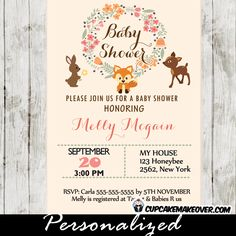 Printable Woodland Creatures Baby Shower Invitation, perfect for a baby boy, girl or a gender neutral celebration. This personalized woodland themed invitation marries a beautiful floral wreath with the cuteness of several forest animals; a sly fox, a playful deer and a cuddly rabbit. #cupcakemakeover