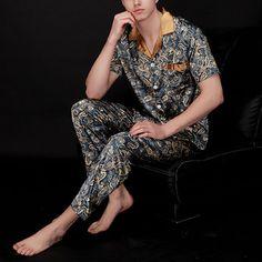 Mens Casual Imitation Silk Home Sleepwear Sets Printing Short Sleeve Long  Pants Pajamas Hipster Outfits Men 700dd3c87