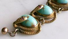 Antique Victorian Watch Fob Snakes Turquoise Glass Cabochons Gold Plated - this is an early copy of Turquoise Jewelry from the 1870's showing you that Turquoise Jewelry was popular and valuable back in the Victorian period of time.