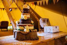 Naked Wedding Cake - Derbyshire Sami Tipi Wedding - Captured by Humpston & Bull