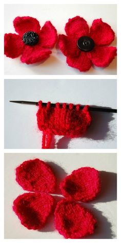 Crochet Flower Patterns Free Poppy Flower Knitting Pattern - For knitting lovers, we have compiled a few Free Flower Knitting Patterns for you. They are beautiful and spring perfect knitted flowers. Knitted Poppy Free Pattern, Knitted Flowers Free, Knitted Poppies, Tea Cosy Knitting Pattern, Poppy Pattern, Crochet Flower Patterns, Baby Knitting Patterns, Knitting Yarn, Crochet Flowers