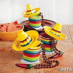 Sombrero Pails Idea. DIY from sand children's pails. Use colored tape