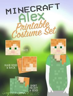 Minecraft Alex Printable Costume – Sweet Anne Designs - Minecraft, Pubg, Lol and Best Kids Costumes, Easy Diy Costumes, Family Halloween Costumes, Boy Costumes, Holidays Halloween, Halloween Crafts, Halloween Decorations, Costume Ideas, Halloween 2017