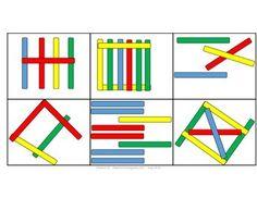 Popsicle Stick Patterns by iTeach Kindergarten Reading, Kindergarten Worksheets, Toddler Activities, Preschool Activities, Popsicle Stick Crafts, Popsicle Sticks, Craft Stick Crafts, Plate Crafts, Yarn Crafts