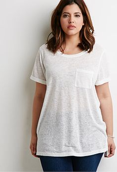 Slub Knit Pocket Tee | Forever 21 PLUS - 2000133301