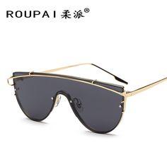 ROUPAI Womens Semi-Round vintage oversized Sunglasses women designer fashion retro Rose gold Mirror sun glasses for women men