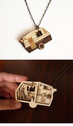 Camper Dream Necklace by Vectorcloud. Made out of lasercut walnut and birch wood, the pendant is reversible, revealing the interior room with its many lovely details.