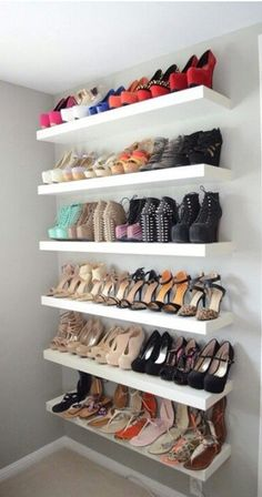 42 Ideas Walk In Closet Organization His And Hers Shoe Shelves Closet Bedroom, Closet Space, Bedroom Decor, Master Closet, Shoe Rack Bedroom, Bedroom Ideas, Shoe Storage Ideas Bedroom, Closet Wall, Shoe Room
