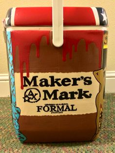 so cute....looks like the actual bottle Maker's Mark, cooler dx Delta chi ΔΧ formal ~cooler connection on facebook