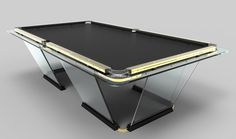 """A crystal sheet 15 mm thick is """"sculpted"""" into an elegant Pool Tables collection the pool table designed by Marc Sadler. Among the original details are a jet black playing surface covered in black cloth and a contoured base that emphasize the table's sleek lines accentu…"""