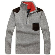 Mens Solid Thicken Sweater Stand Collar Thermal Cardigan Cheap - NewChic Mobile