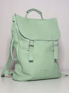 Large leather back pack rucksack handmade by Kokosina. $169.00, via Etsy.