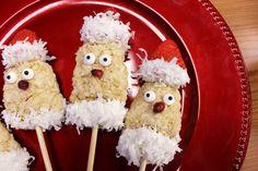 How to Make Fruit Santa Marshmallow Cereal Treats Cereal Treats, Rice Krispie Treats, Rice Krispies, Marshmallow Cereal, Mini Marshmallows, Christmas Music, White Christmas, Kebab Sticks, Chocolate Melting Wafers