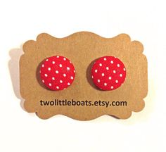 Red mushroom Fabric Button Earrings by TwoLittleBoats on Etsy