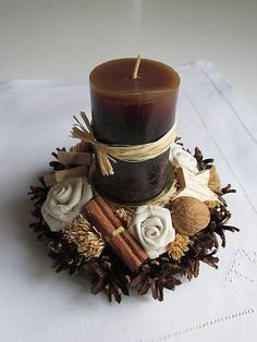 How to make Christmas centerpiece brown candles - Christmas Decorations . - How to make Christmas centerpiece brown candles – Christmas Decorations {hashtags - Centerpiece Christmas, Candle Centerpieces, Christmas Candles, Diy Candles, Xmas Decorations, Decorative Candles, Noel Christmas, Christmas Wreaths, Christmas Crafts