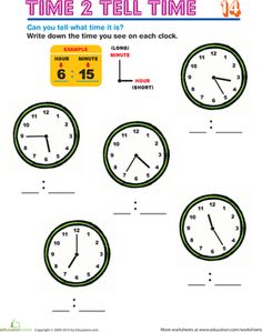 2nd Grade Time to the Nearest Five Minutes Worksheets
