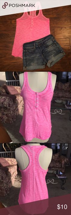 Mossimo Pink Racerback Tank Top Size small, hot pink racerback tank top with buttons. Fits loose and long. Used but in good condition. Great to wear in the summer time with some jean shorts or for working out! Mossimo Supply Co. Tops Tank Tops