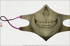 Surgical mask design by Yoriko Yoshida -- two pieces, mirror imaged, sewn down the middle front.