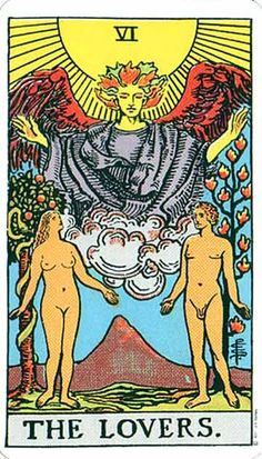 Share Change:  The Lovers, Rider-Waite Tarot Card:  Yin & Yang:  Two parts (union/integration of opposites/polarities)... become a greater whole.