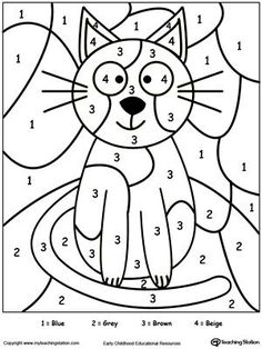early childhood color by number worksheets - Kids Activity Printables
