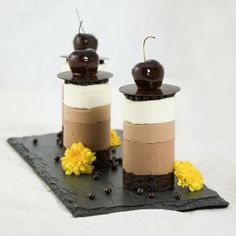 Mini Triple Chocolate Mousse Cakes